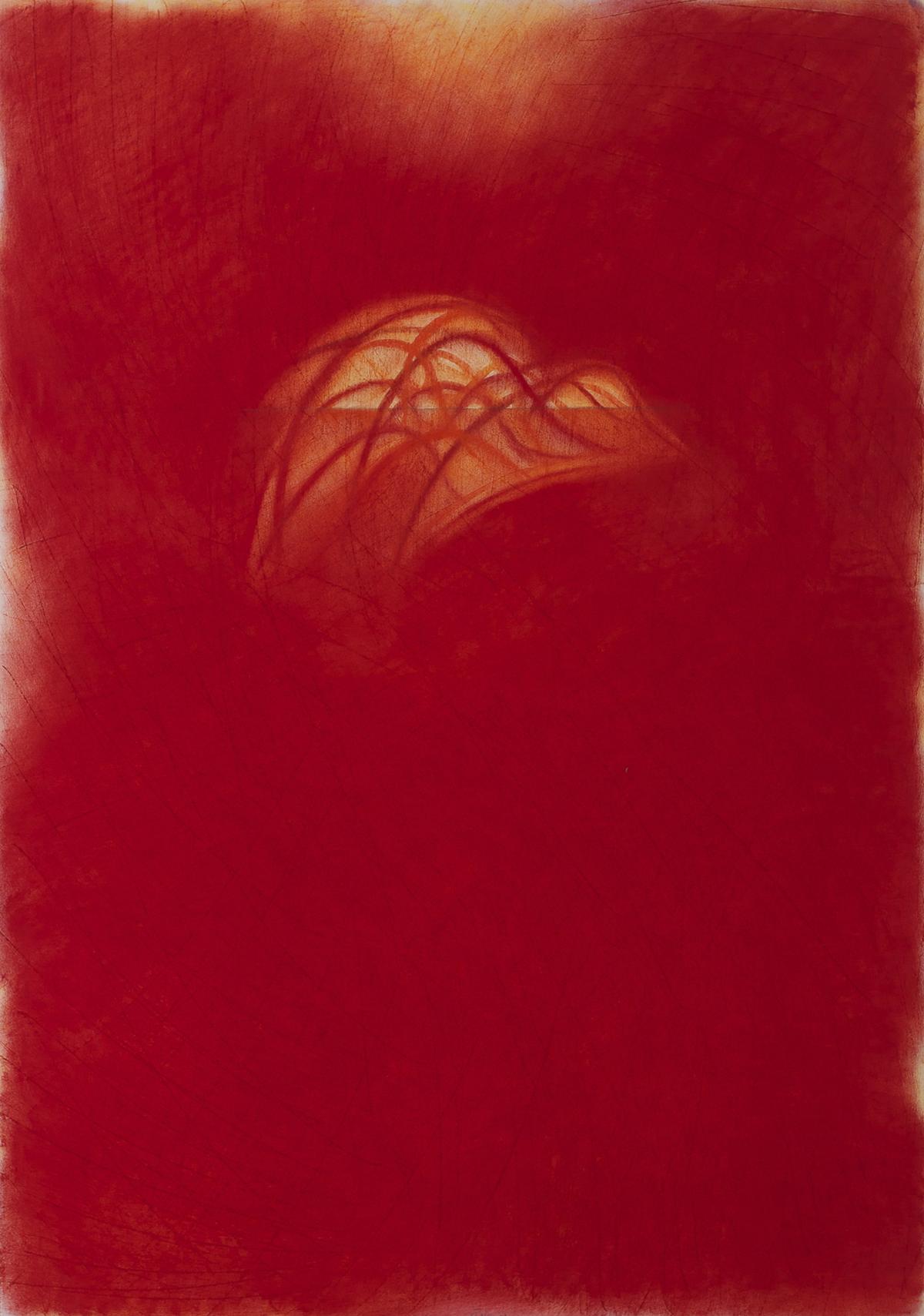 Orizzonte ( rosso) 2014 pastello su cartoncino cm 73x51
